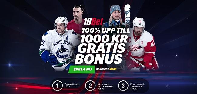 10bet sportbonus på 100% upp till 1000 kr