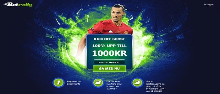 Betrally sportbonus på 100 % upp till 1000 kronor