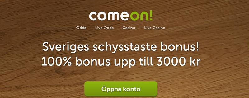 Unik ComeOn oddsbonus på 3000 kr till nya spelare