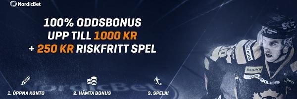 Nordicbet sportbonus på 100 % upp till 1 000 kr