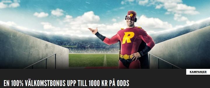 Rizk sportbonus på 100% upp till 1000 kr
