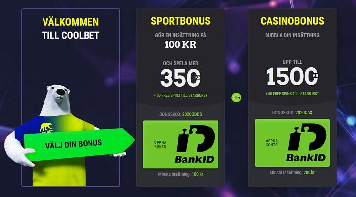 Coolbet sportbonus 2020 på 250%