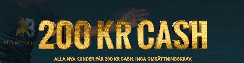 Noaccountbet sportbonus 100% upp till 200 kr