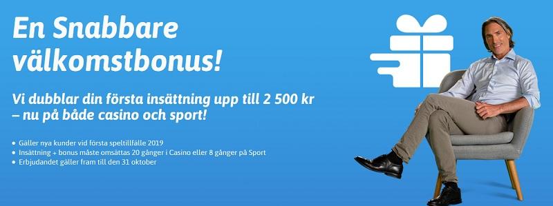 Snabbare med 2500 kr sportbonus till 31 okt 2019